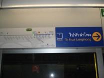 Sinalização do metro que fica acima de cada porta. Muito bem sinalizado