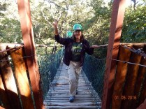 O acesso às Grutas é feito por uma trilha suspensa em meio ao cerrado