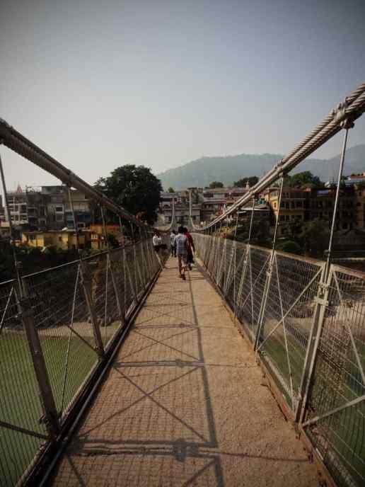 Pedestrian bridge crossing the Ganges River