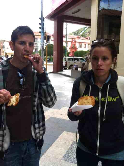 Enjoying a Peruvian snack