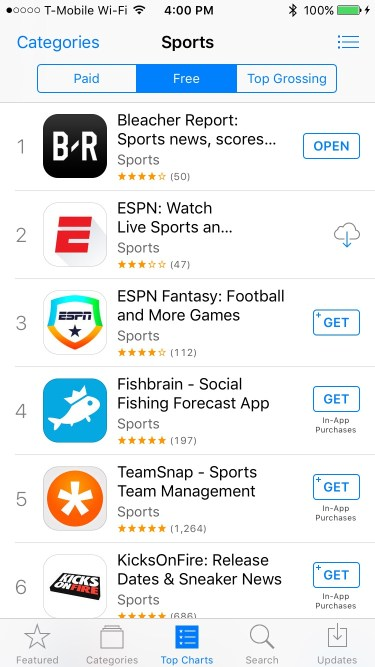 Bleacher Report in the app store