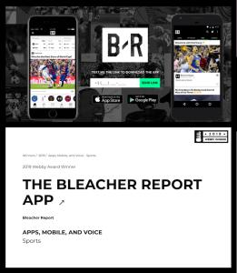 Bleacher Report Webby Award Screenshot