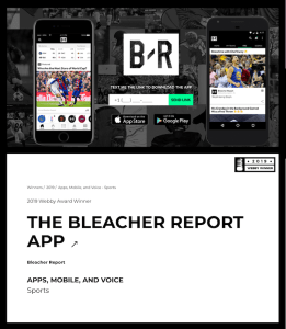 Bleacher Report Webby Award Screenshot