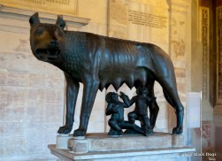 Capitoline Wolf, sculpture of a she-wolf suckling twins, inspired by the legend of the founding of Rome