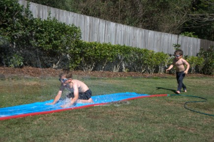 Slip and slide in the backyard, October