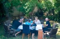 Family backyard poker game