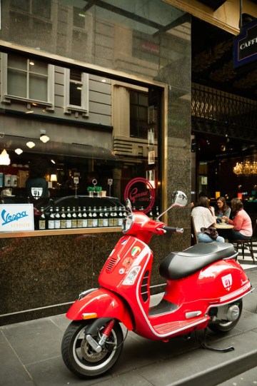 Vespa outside cafe, Melbourne