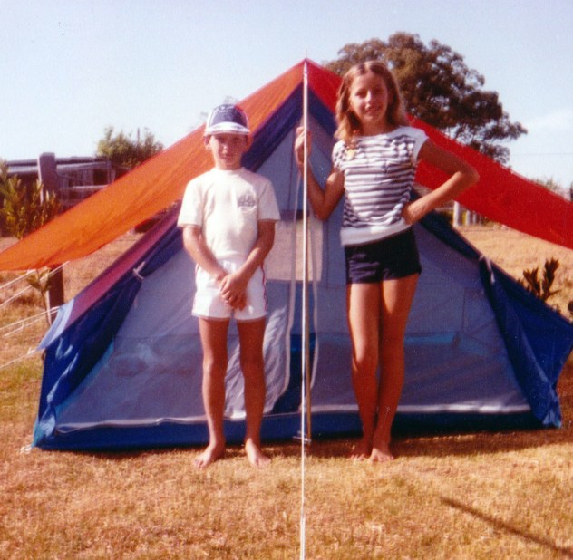 Kids with tent in backyard