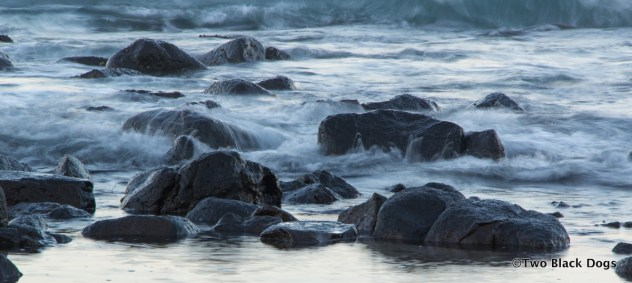 Water washing over rocks