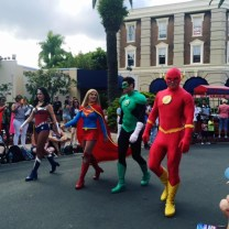 Justice League Superheroes in the MovieWorld Parade