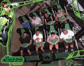 People on the Green Lantern rollercoaster