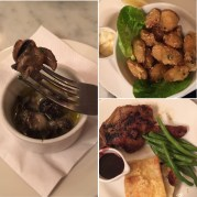 Snails in herb and garlic butter, tempura mussels and confit duck with cherry sauce