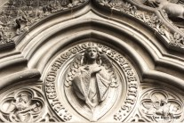 Detail of the caarved stone portico at the main entrance to St. Giles Cathedral