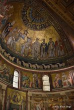 The apse calotte mosaics (1140-43) within the Basilica of Santa Maria in Trastevere