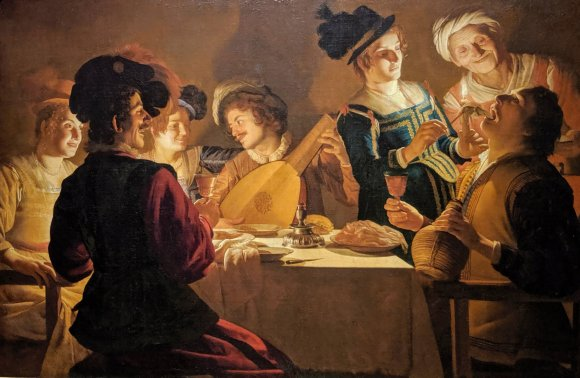 Gerard van Honthorst's Supper Party at the Uffizi Gallery, Florence, Italy