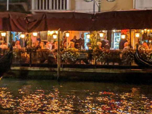 Outdoor restaurant at night on the Grand Canal, Venice