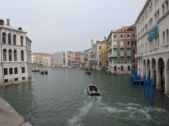 View of the Grand Canal from the Rialto Bridge in Venice, Italy