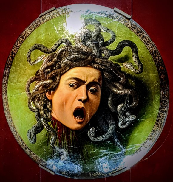 Caravaggio's Medusa at the Uffizi Gallery, Florence, Italy
