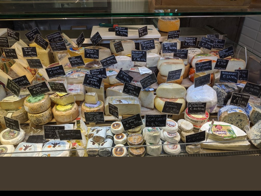 Display of cheese at the Mercato Centrale in Florence, Italy