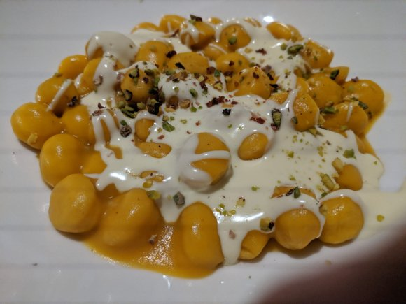 Pumpkin Gnocchi with Cream Sauce at the Golden View Open Bar