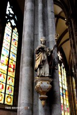 A statue inside the main hall of the cathedral.