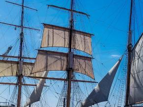 Sails on the Star of India in San Diego harbor