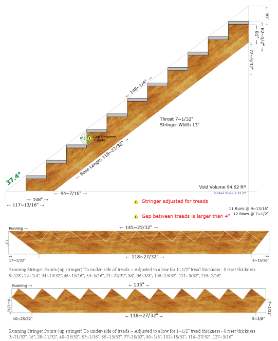 """plans of a 37' long stair stringer, showing 7"""" throat, 10"""" runs and 7.5"""" rise"""