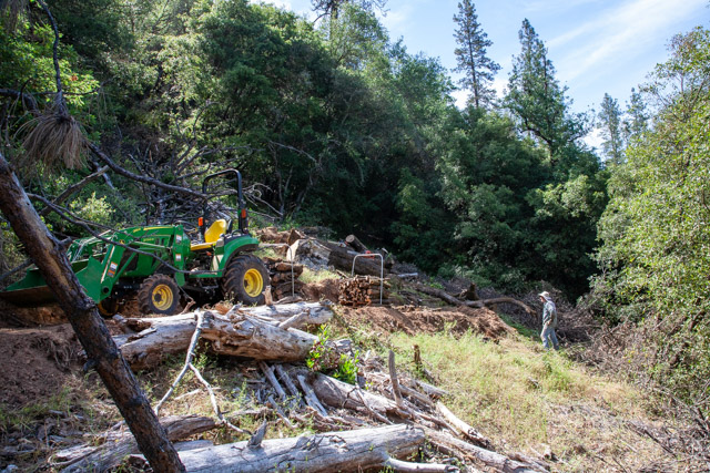 Green John Deer tractor with a pallet of firewood on back and a person standing in background looking a piles of logs and tree on the ground