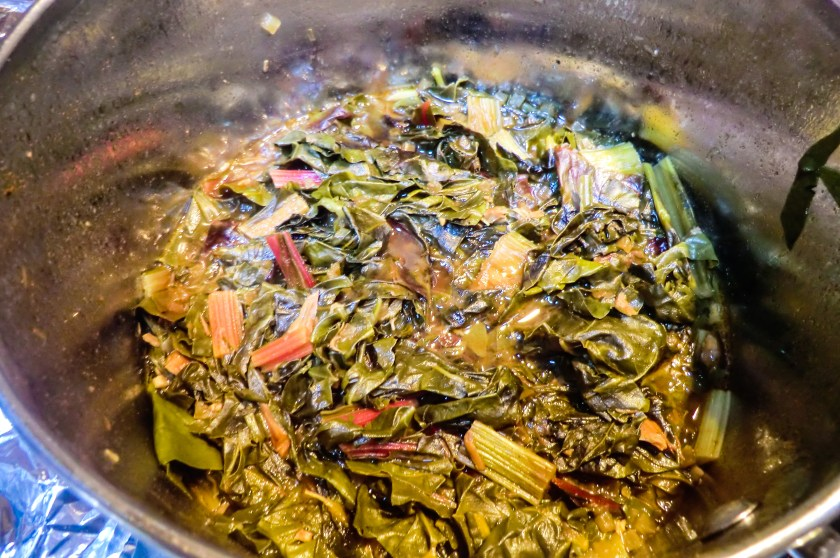 A pot of beautiful cider-brazed greens.