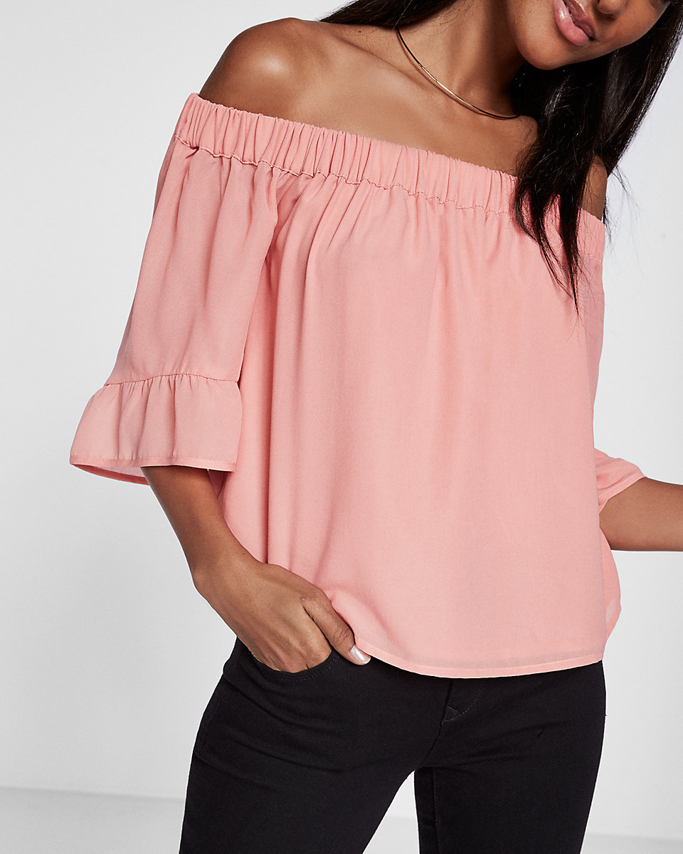 Ruffle Sleeve Off The Shoulder Blouse, Express $49.99