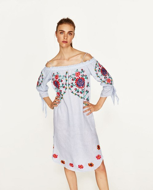 Linen Dress with Flowers Embroidery; ZARA $49.90 (SALE)