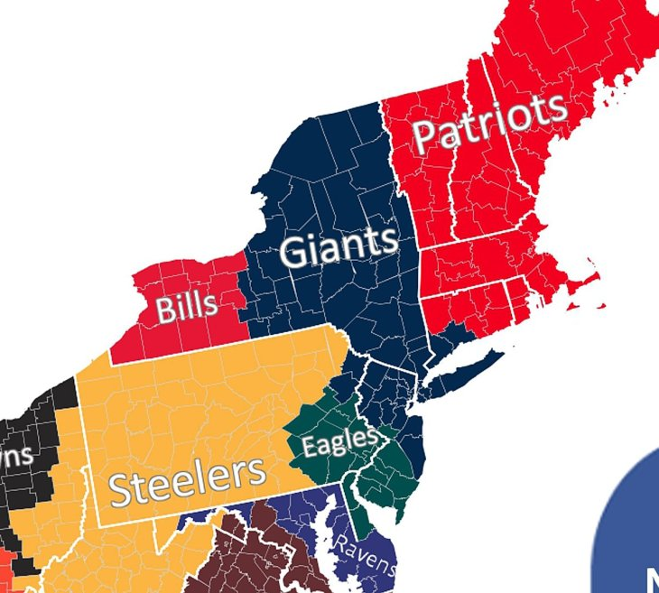 Super bowl showdown who will new york football fans root for nfl fan map northeast sciox Gallery
