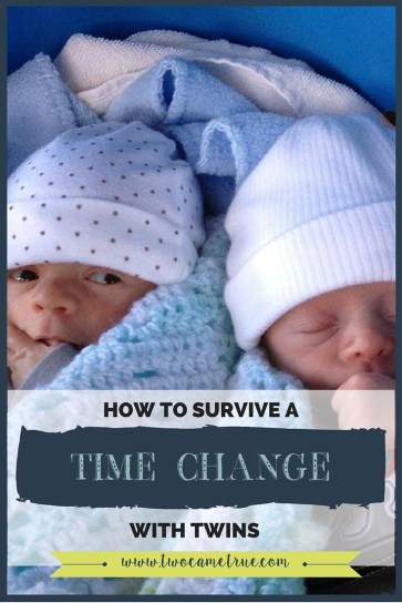 Learn how to shift your babies' schedule ahead of time so that a time change doesn't throw your twins and their sleep for a loop!