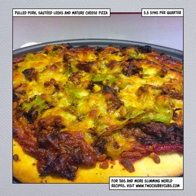 cheese, pulled pork and leek pizza