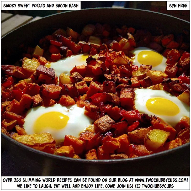 smoky sweet potato and bacon hash