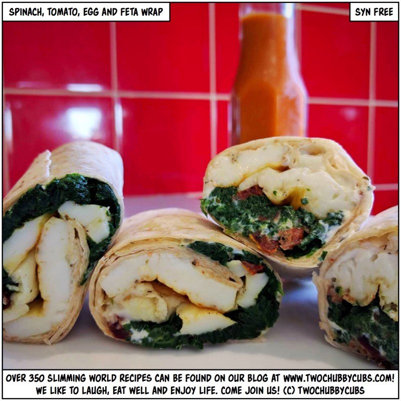 jspinach, tomato, egg and feta wrap