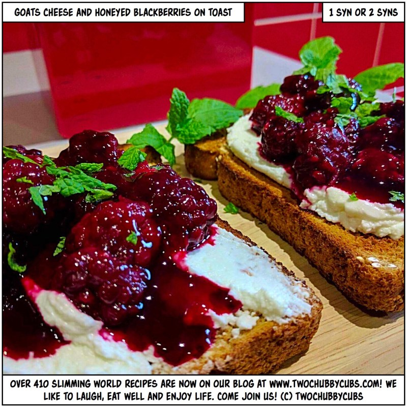 goat cheese and honeyed blackberries on toast