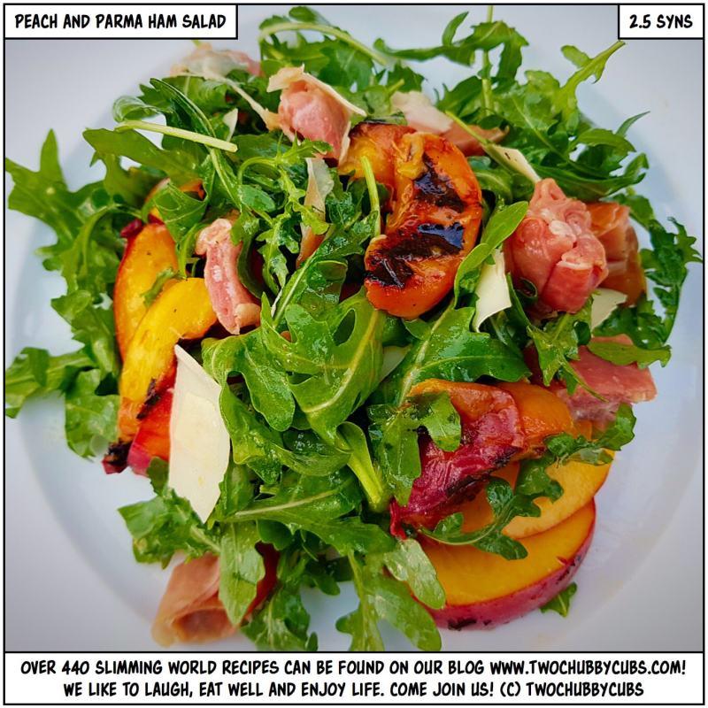 roast peach, parma ham and Gruyère salad