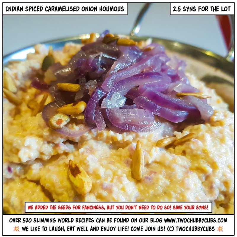 caramelised red onion houmous