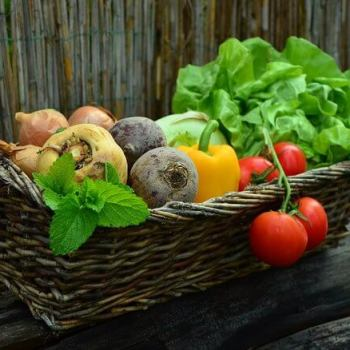 a wicker basket of fresh vegetables