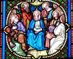Stained glass window of Pentecost