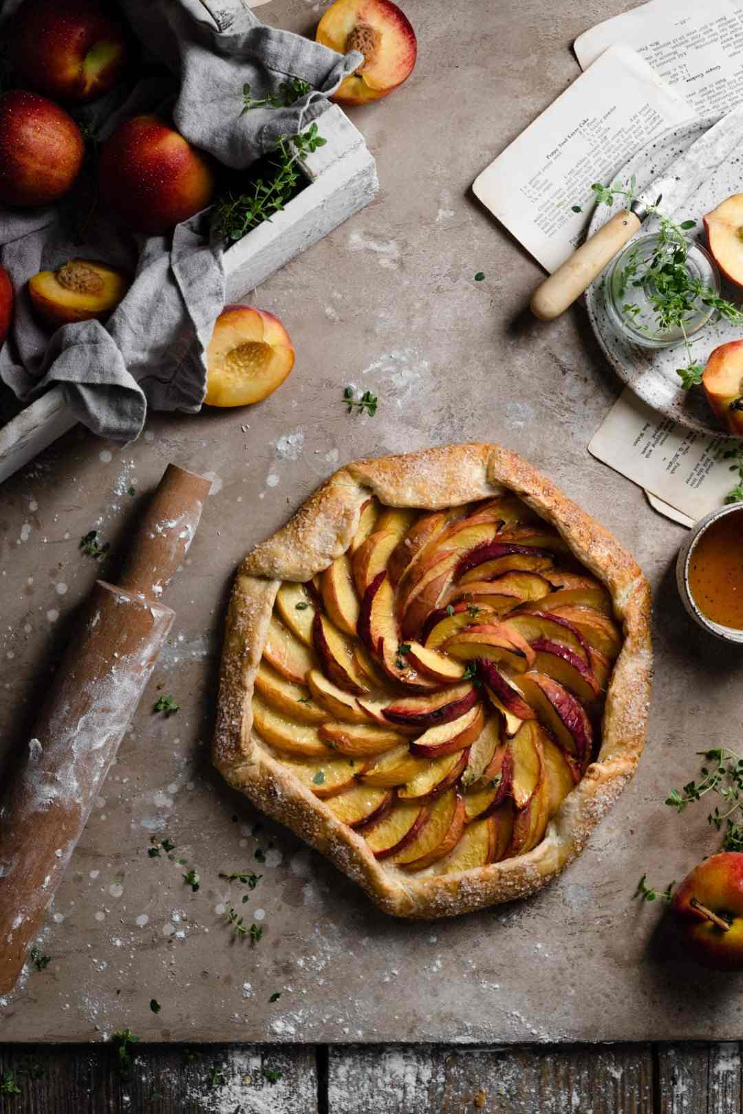 Recipe for peach galette with homemade pie crust.