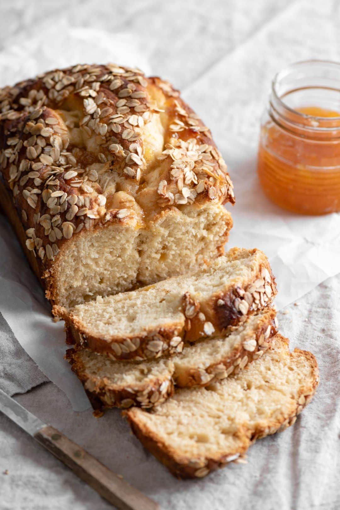 Brioche Bread Recipe with oat topping and peach preserves