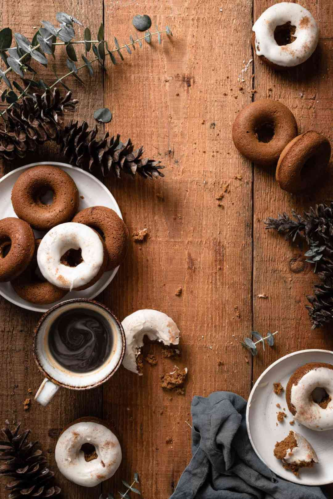 Holiday Gingerbread Doughnuts with vanilla frosting.
