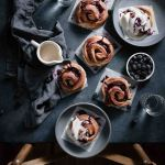 Mixed Berry Sweet Rolls with blueberries and raspberry preserves.