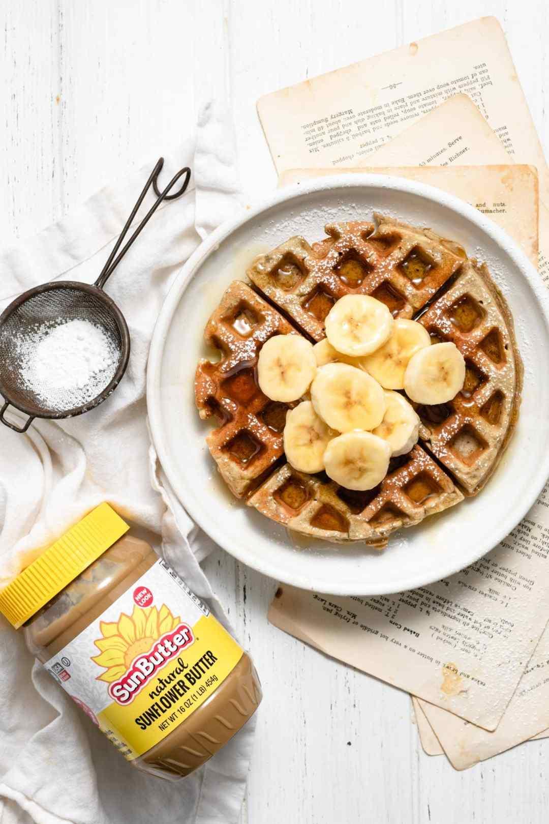 SunButter Sunflower Butter and Banana Waffles with honey.