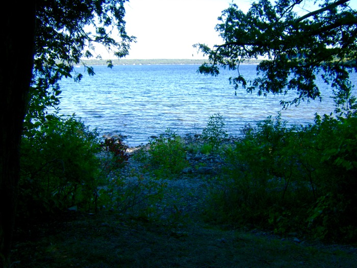 View of Nicolet Bay from Peninsula State Park campsite