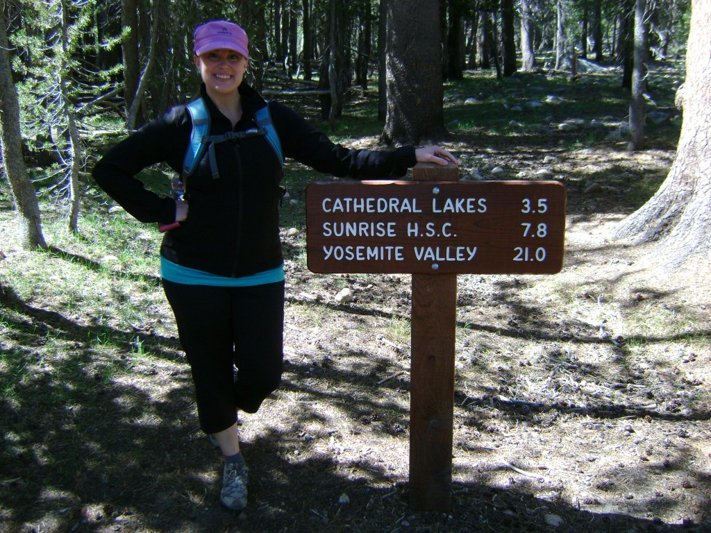 Laura ready to hike to Cathedral Lakes in Yosemite National Park