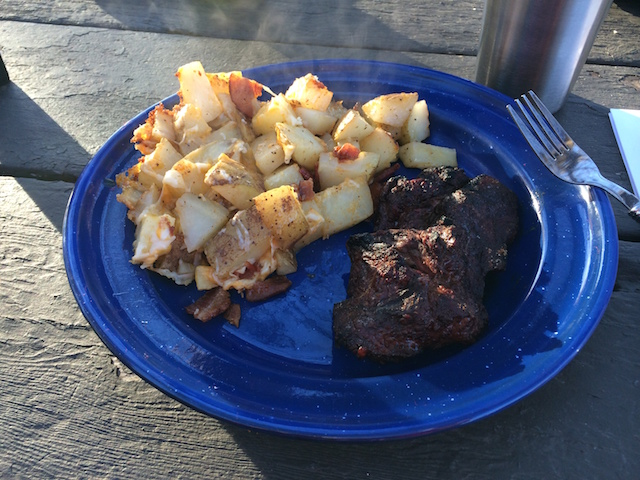 Campfire steaks and Three-Cheese Potatoes