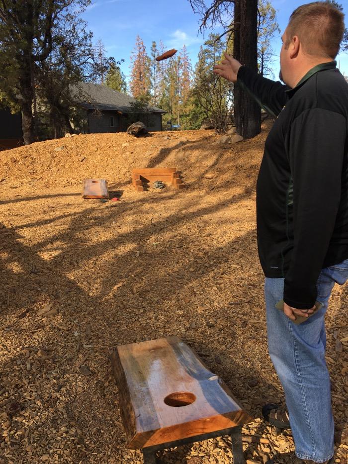 Jason plays bags at Rush Creek Lodge